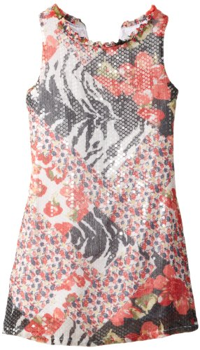 Price comparison product image LAUNDRY BY SHELLI SEGAL Big Girls' Claudia Printed Sequin Dress, Multi, 10