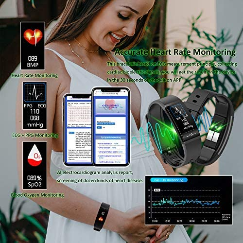 Smart Watch, Hongmed Fitness Watch for Android phones and iPhone Compatible, with Body Temperature Blood Pressure Oxygen Monitor, Waterproof Pedometer Activity Tracker With Sleep Monitor for Men Women 3