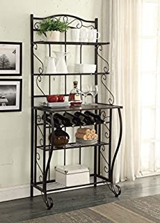 Merveilleux 5 Tier Black Metal Cappuccino Finish Shelf Kitchen Bakers Rack Scroll  Design With 5 Bottles