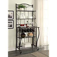 5-tier Black Metal Cappuccino Finish Shelf Kitchen Bakers Rack Scroll Design with 5 Bottles Wine Storage