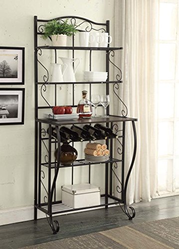 - 5-tier Black Metal Cappuccino Finish Shelf Kitchen Bakers Rack Scroll Design with 5 Bottles Wine Storage