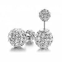 Hotshopping Shamballa 925 Sterling Silver Rhinestones Double Balls 10mm Princess Diamond Stud Earrings