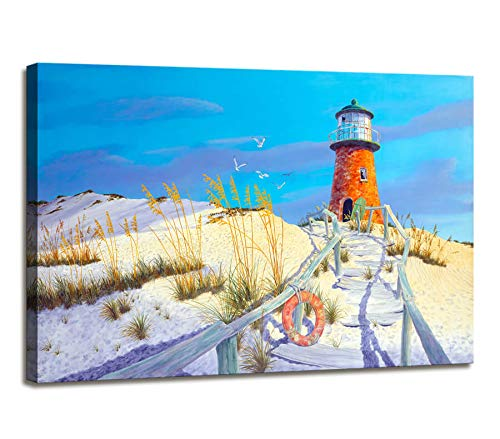 Nautical Lighthouse Decor Beach Theme Decor Canvas Prints Artwork Photo Wall Painting for Bedroom Wall Decor for Office Wall Art Beach Wall Art Pictures for Living Room Framed Art Bathroom Home Decor