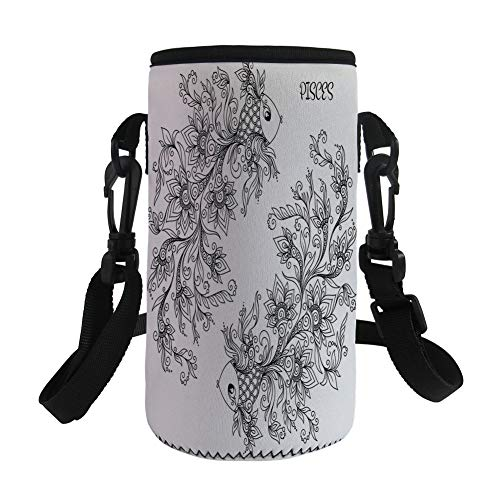 Small Water Bottle Sleeve Neoprene Bottle Cover,Zodiac Decor,Floral Images Pisces Fish House of Small Water Element Sensitivity Planet Sign,Black White,Fit for Stainless Steel and Plastic/Glass Bott ()