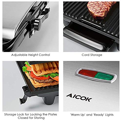 Panini Press Gourmet Sandwich Maker, 4-Slice Extra Large Panini Press Grill with Non-Stick Coated Plates and Removable Drip Tray, Stainless Steel, 1200W by AICOK (Image #2)