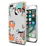 Case for iPhone 7 Plus iPhone 8 Plus, Clear with Design Funny Cute Sloth Transparent Phone Cover for Girls Men Women Style Shockproof Bumper Anti-Drop-Scratch Soft TPU Frame for 5.5'-Sloth