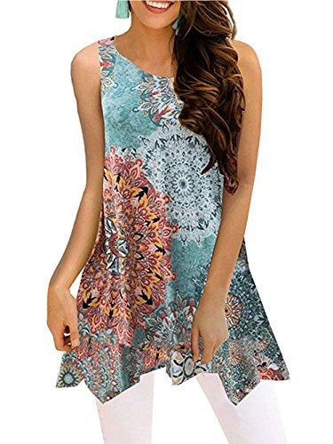 Printed Cotton Tunic Top - Paewin Womens Print Sleeveless Loose Tunic Tank Tops Casual Blouses Vest T Shirt Green-2 XX-Large
