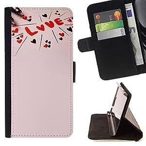 For Sony Xperia M2 Case , Amor texto rosado melocotón rojo Corazones de San Valentín- la tarjeta de Crédito Slots PU Funda de cuero Monedero caso cubierta de piel