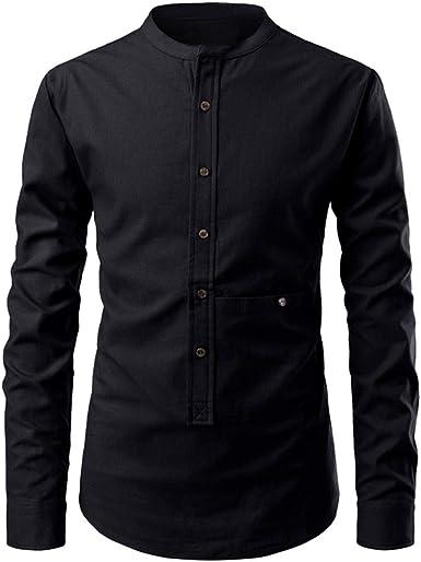 Sylar Camisa De Manga Larga para Hombre Moda Camisas Henley para Hombre Camisas De Hombre Color Sólido Slim Fit Camisetas Hombre con Botones De Otoño Invierno Tops Blusa Camiseta: Amazon.es: Ropa y