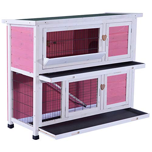 (Lovupet 40inch 2-Story Wooden Rabbit Hutch Small Animal House Pet Cage Chicken Coop with Tray and Feed Trough 0323)