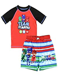 Dreamwave PJ Masks Little Boys' Toddler Rash Guard and Swim Trunks Set Red
