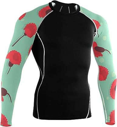 LUPINZ clavel flores patrón transpirable deporte camisa manga ...
