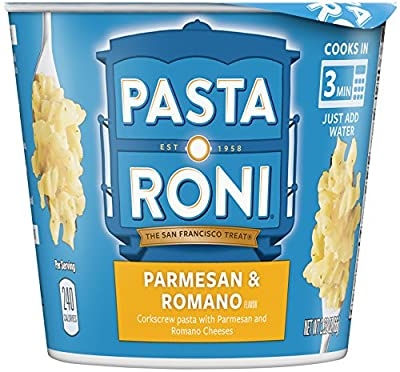 Pasta Roni Cups, Parmesan & Romano Cheese Pasta Mix, 2.32 oz (Pack of 12 Cups)