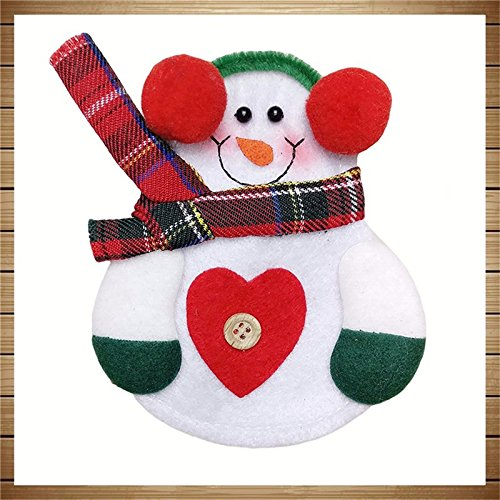 Shuzhen,2 Piezas de Navidad decoración Encantadora muñeco de Nieve Cocina vajilla Titular de Bolsillo Cena Cubiertos(Color:Blanco): Amazon.es: Hogar