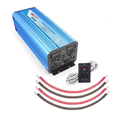 BELTTT 3000W Pure Sine Wave Power Inverter 12V DC to 110 V AC with 4 AC Outlets and LCD Display,1 USB Charging Port, Remote Switch (6000W Peak)