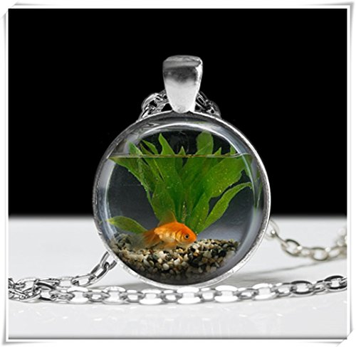 - Goldfish Bowl Necklace, Fish Jewelry Necklace ,Wearable Art Pendant Charm, Goldfish Pendant Charm