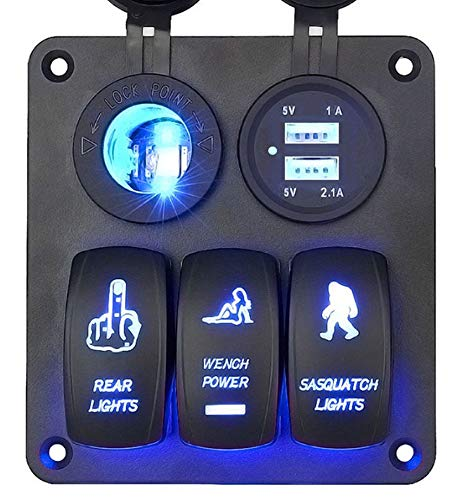 DCFlat Waterproof 3 Gang / 4 Gang / 6 Gang Circuit LED Car Marine Boat Rocker Switch Panel with Fuse Dual USB + Power Socket Breaker Voltmeter Overload Protection (3 Gang Laser)
