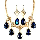 Peacock Blue Teardrop Necklace and Earring Set