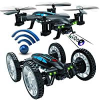 Cewaal K20 2.4Ghz 3D Flip RC Quadcopter Remote Control Car with Wheels Land/Sky RTF Toy