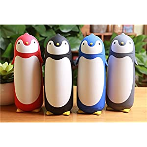 ChezMax Outdoor Penguin Cartoon Stainless Steel Thermos Water Bottle for Kids Water Bottle, 9.5oz, Gray