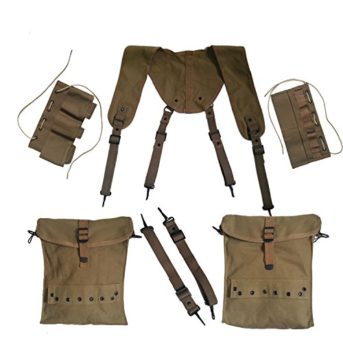 (ANQIAO Replica WW2 WWII US Individual Medic Combat Equipment Field Kit Suspenders Cantles )