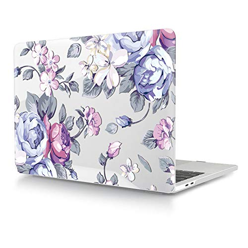 HRH Hand Painted Purple Flower Clear Glossy Design Laptop Body Shell Protective Hard Case for MacBook Newest Air 13