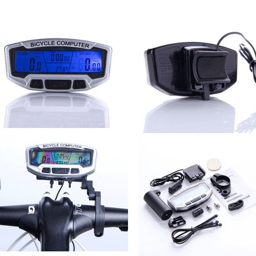 SODIAL(R) LCD Bicycle Bike Cycling Computer Odometer Speedometer Velometer With Backlight by SODIAL(R)