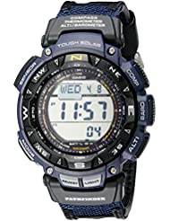 Casio Mens PAG240B-2CR Pathfinder Sport Watch with Black Leather and Blue Cloth Band