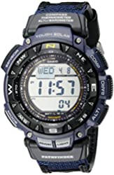 """Casio Men's PAG240B-2CR """"Pathfinder"""" Sport Watch with Black Leather and Blue Cloth Band"""
