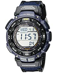 "Casio Men's PAG240B-2CR ""Pathfinder"" Sport Watch with Black Leather and Blue Cloth Band"