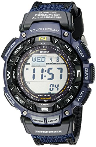 Casio Men's Pathfinder PAG240B-2CR Solar Powered Sport Watch with Black Leather and Blue Cloth Band