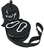 Krazy Outdoors Night Guardian Hammock Tree Straps - Black with Dark Green Stitching - Heavy Duty - 21 Multi-Loop Adjustment System - 100% Polyester Webbing Quality Straps - 1500 lbs Weight Capacity