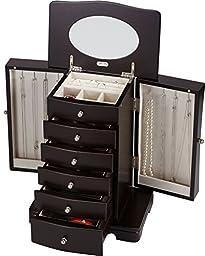 Seya Modern Wooden Jewelry Box Organizer with Mirror (Espresso)