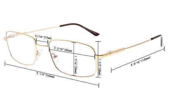 e11bb6ded9 Eyekepper Lectores progresivos 3 niveles visión lentes multifocales anti UV  gafas de lectura de los hombres flexible marco de memoria (Oro, ...