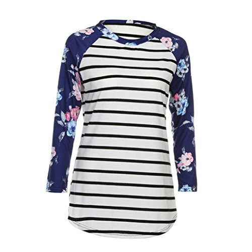 Blouse,Han Shi Women Fashion Stripe Floral Print 3/4 Sleeve Shirts Casual Cotton Top Tees (L, White)