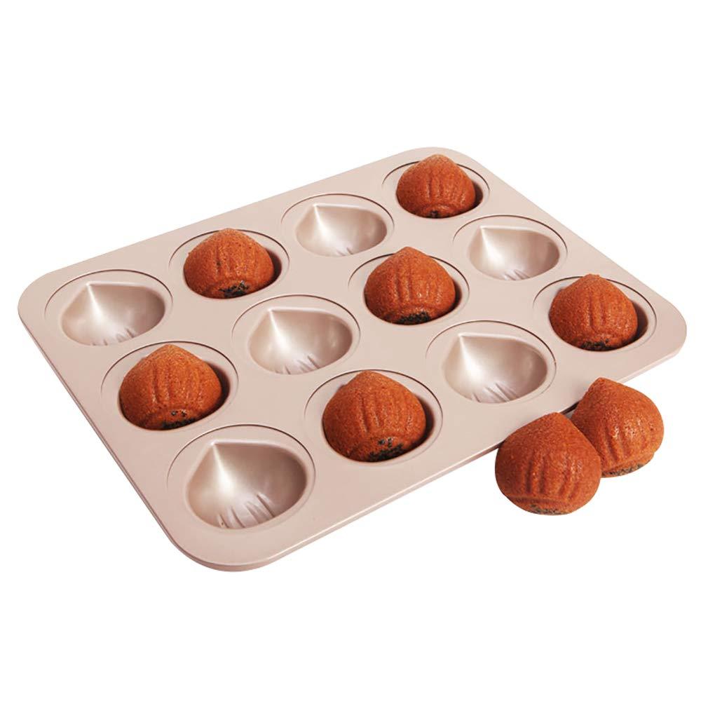MyLifeUNIT Mini Cupcake Pan, Nonstick Chestnut Madeleine Cake Pan with 12-Cavity KT18XH039