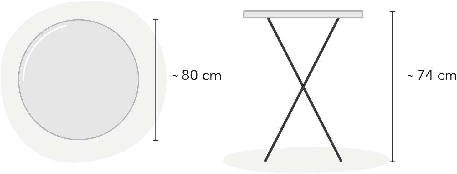 Terraza y Jard/ín 74 cm Park Alley Mesa Plegable de Jard/ín Di/ámetro Aprox Mesa Plegable Redonda para Balc/ón 80 cm Altura Aprox Se Puede Utilizar como Mesa de Fiesta y Mesa Auxiliar