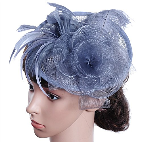 iYBUIA Fashion Women Fascinator Mesh Hat Ribbons and Feathers Wedding Party Hat