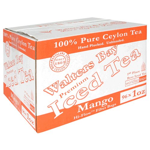 Walters Bay & Company, Pure Ceylon Premium Iced Tea, Mango Flavored, 96-Count, 1-Ounce Pouches by Walters Bay