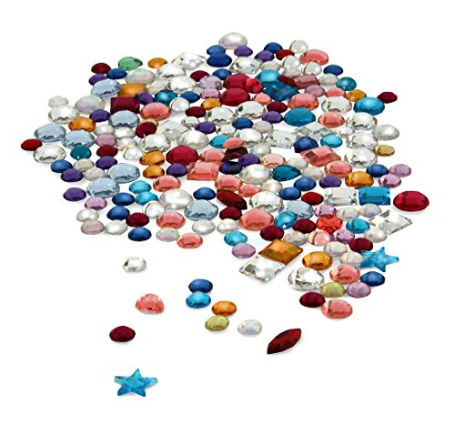 Hygloss Products Multicolor Acrylic Gemstones - Variety Pack of Shiny Jewels, 6 Ounce Container - Gems Variety Pack