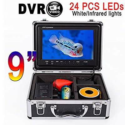 "9"" Underwater Fish Finder Fishing Video Camera SYANSPAN IP68 HD Camera,8GB TF Card Recording Editon,24 Adjustable LED Night Version for Ice/Lake Fishing"