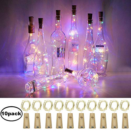 Cynzia 10 Pack 12 LED Wine Bottle Lights with Cork,Battery Operated Cork Shape Fairy Waterproof Copper Silver Wire String Lights,for DIY Party Garden Patio Wedding Table Indoor&Outdoor Decor(4 Colors) from Cynzia