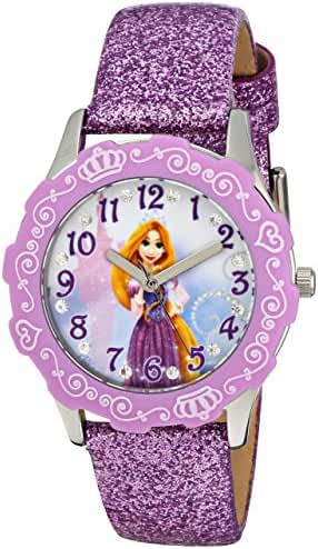 Disney Kids' W001601 Rapunzel Stainless Steel and Purple Glitter Leather Strap Watch