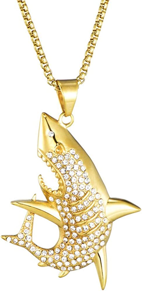 HIJONES Men's Stainless Steel Gold Unique Shark Jumps Out of The Water Cubic Zircon Necklace