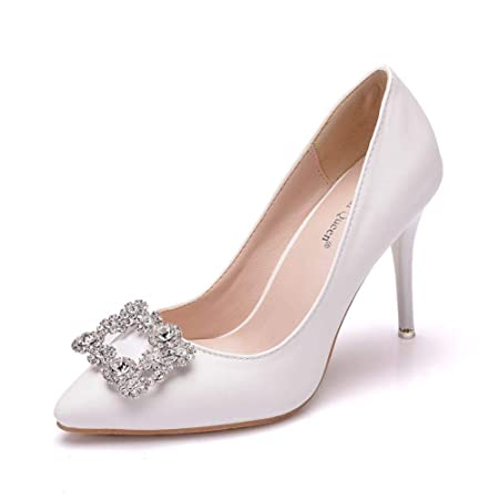 Scarpe Da Sposa Bianche.Xiangqian Scarpe Da Sposa Bianche Scarpe Con Fiocco In