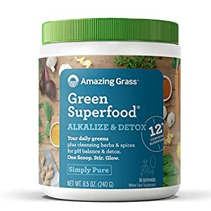 Amazing Grass Green Superfood Alkalize & Detox Organic Plant Based Powder with Wheat Grass and Greens, Flavor: Simply Pure, 30 Servings, Active Probiotic Cultures