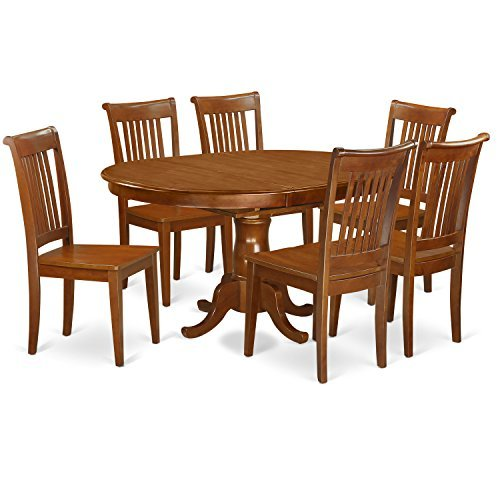 East West Furniture PORT7-SBR-W 7-Piece Dining Table Set For Sale