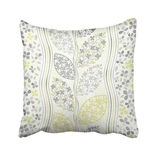 Emvency 16X16 Inch Decorative Throw Pillow Cover Polyeste Gray Floral Of Abstract Blooming Branches Green Flower Modern Leaf Stripes Sketch Branch Cushion Two Sides Pillow Case Square For Home - Green Modern Leaf Stripe