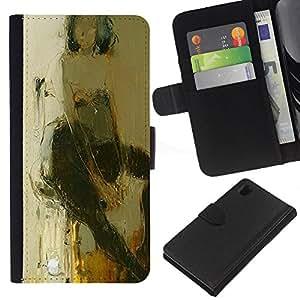 For Sony Xperia Z1 L39 Case , Art Woman Stool Sitting Body - la tarjeta de Crédito Slots PU Funda de cuero Monedero caso cubierta de piel