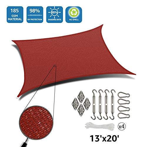 DOEWORKS Rectangle 13' X 20' Sun Shade Sail with Stainless Steel Hardware Kit, Idea for Outdoor Patio, Terra (Patio Block Ideas Sun)